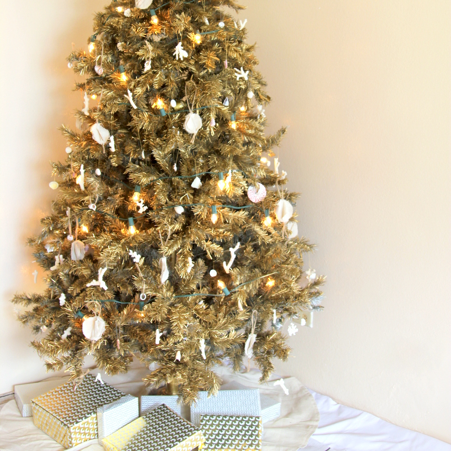 our beach-y, gold christmas tree