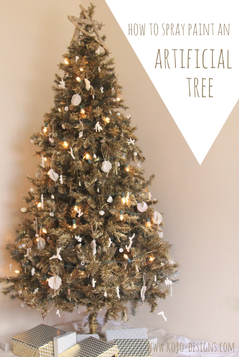 how to spray paint an artificial christmas tree