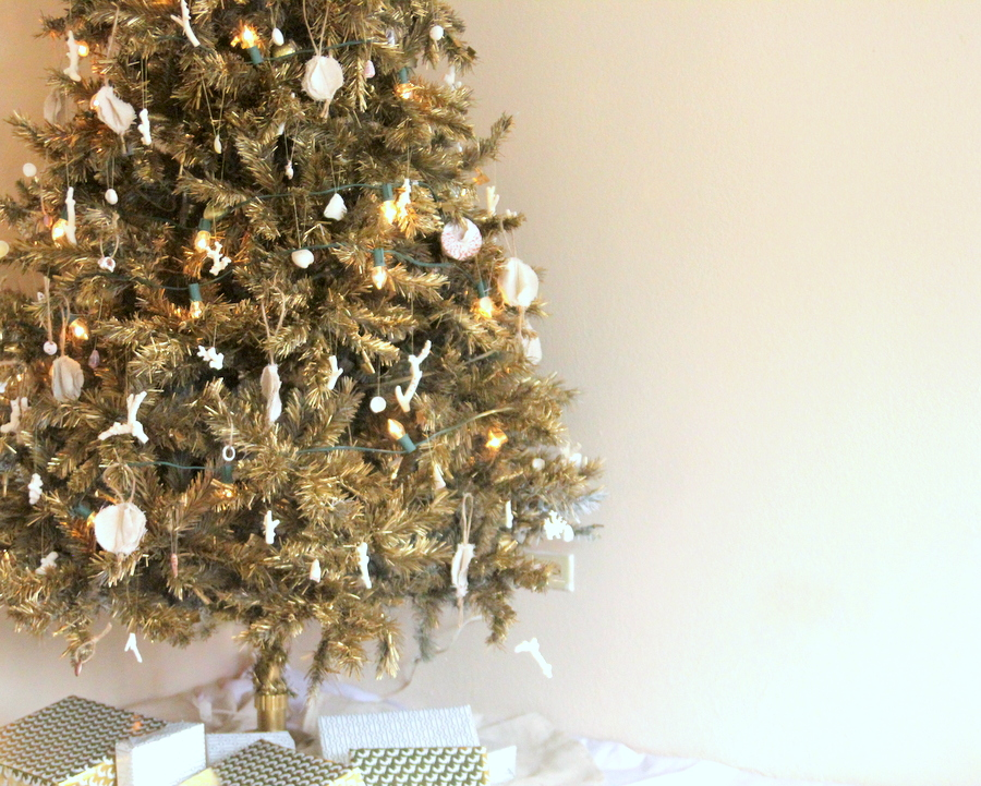 our beach-y gold christmas tree- decorated with coral and shells (the gold is spray paint)