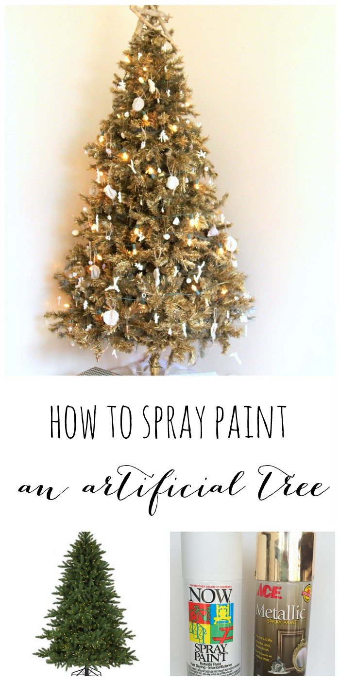 This is the perfect way to give an old fake tree a new look (how to spray paint an artificial christmas tree)!