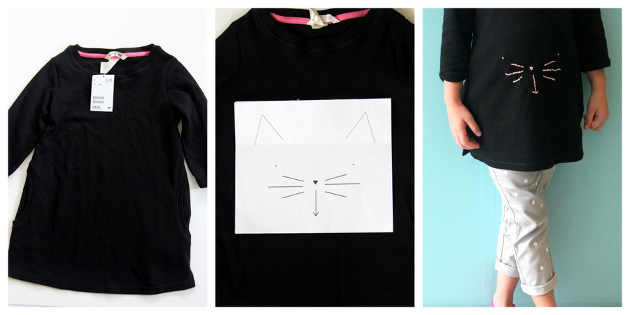 DIY kitty tunic (with free printable kitty face template)
