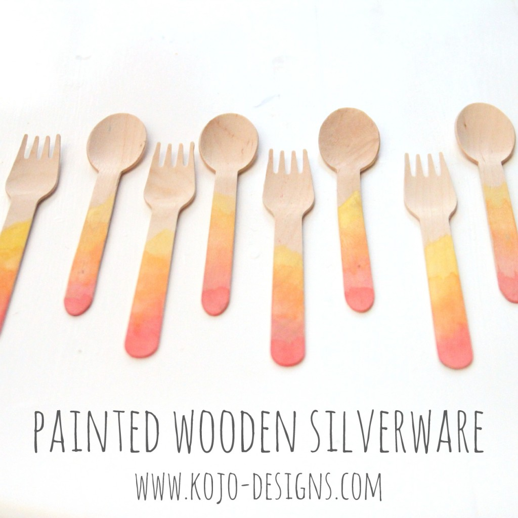 add watercolor paint to wooden/bamboo silverware for perfectly customized party cutlery!