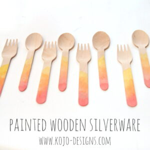 watercolor painted wooden silverware