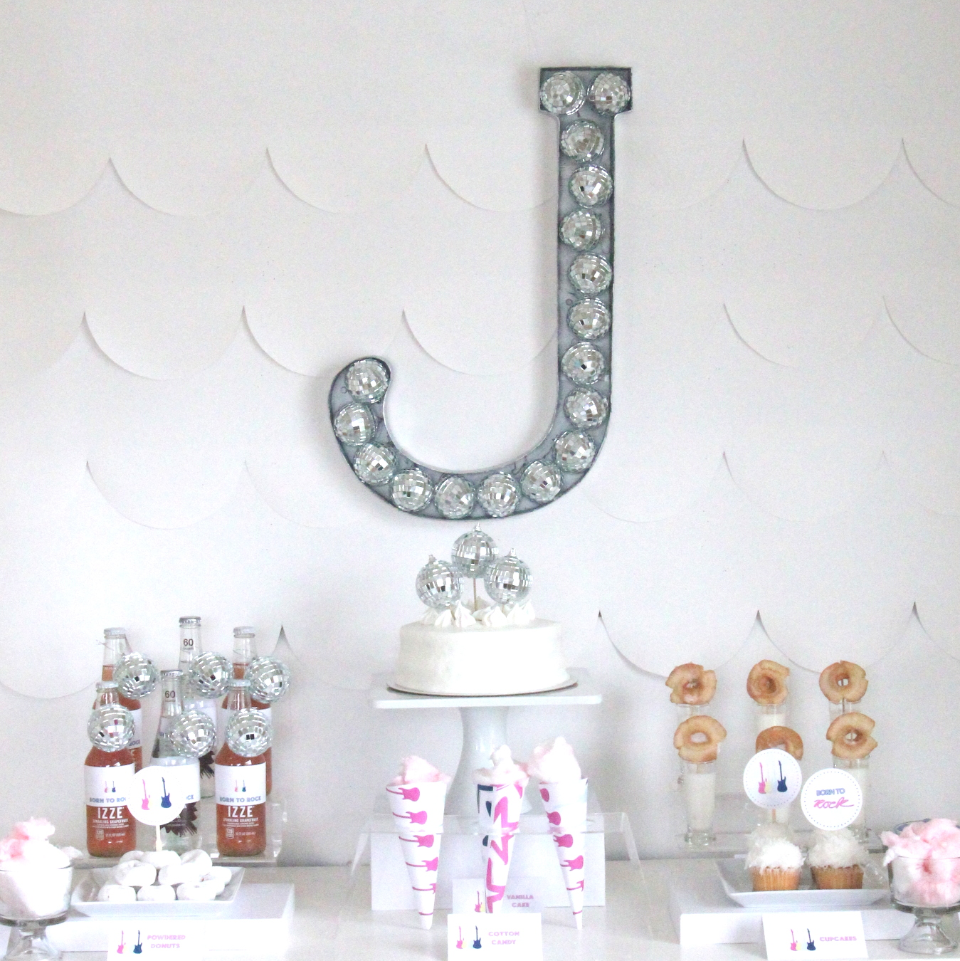Need to add a bit of rock star to a room (or a party)??? This disco ball filled monogram is just the thing!
