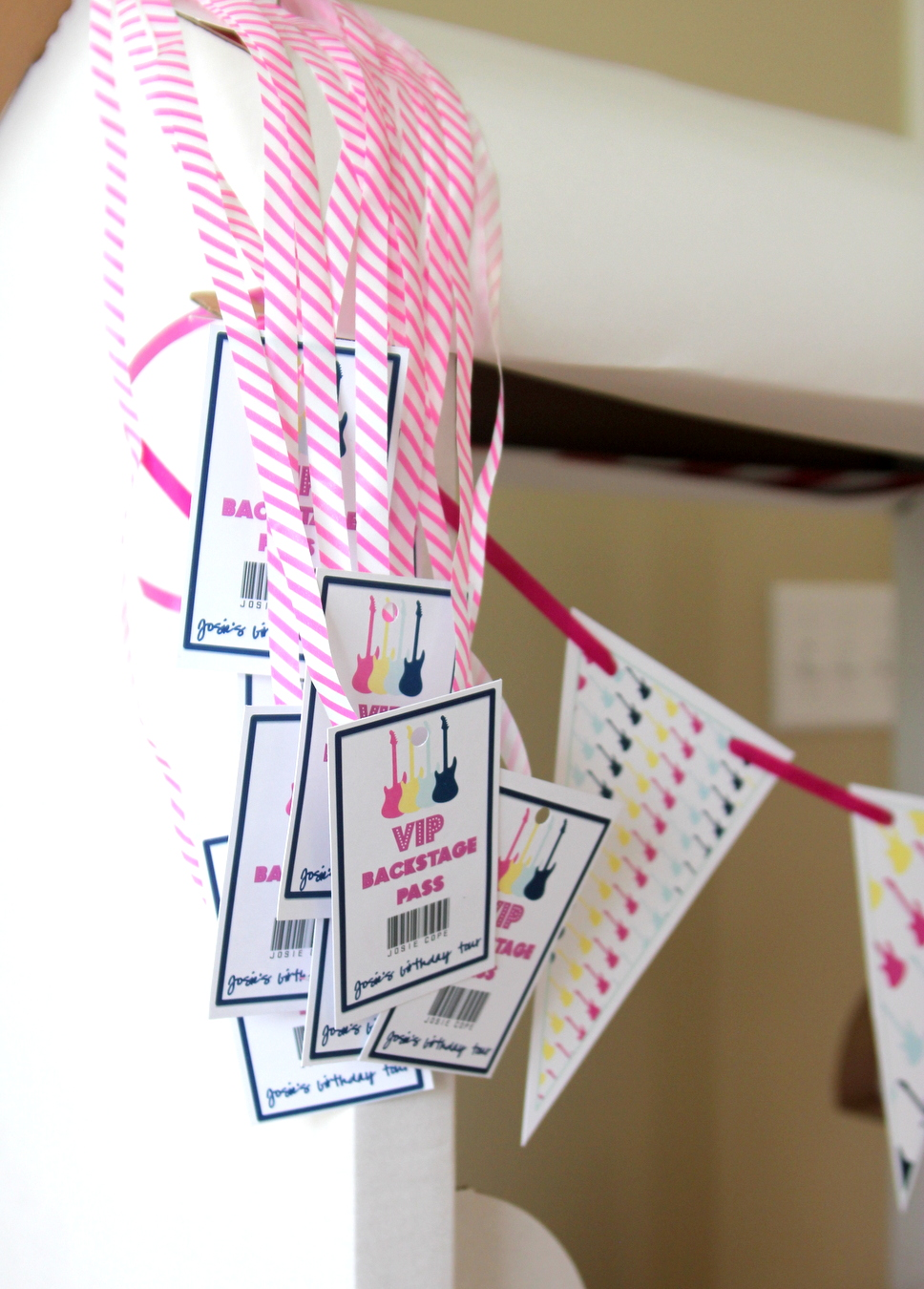 Time to party like a rock star! This sweet rock star birthday party includes all sorts of party ideas- like these 'VIP back stage passes.'