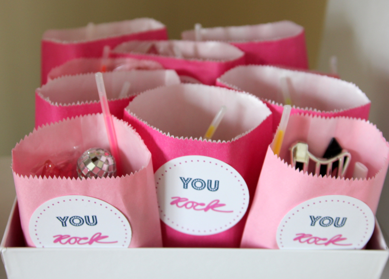 Time to party like a rock star! This sweet rock star birthday party includes all sorts of party ideas- like these cute rock star party favors!