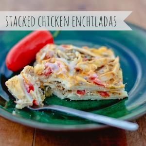 freezer cooking stacked chicken enchiladas