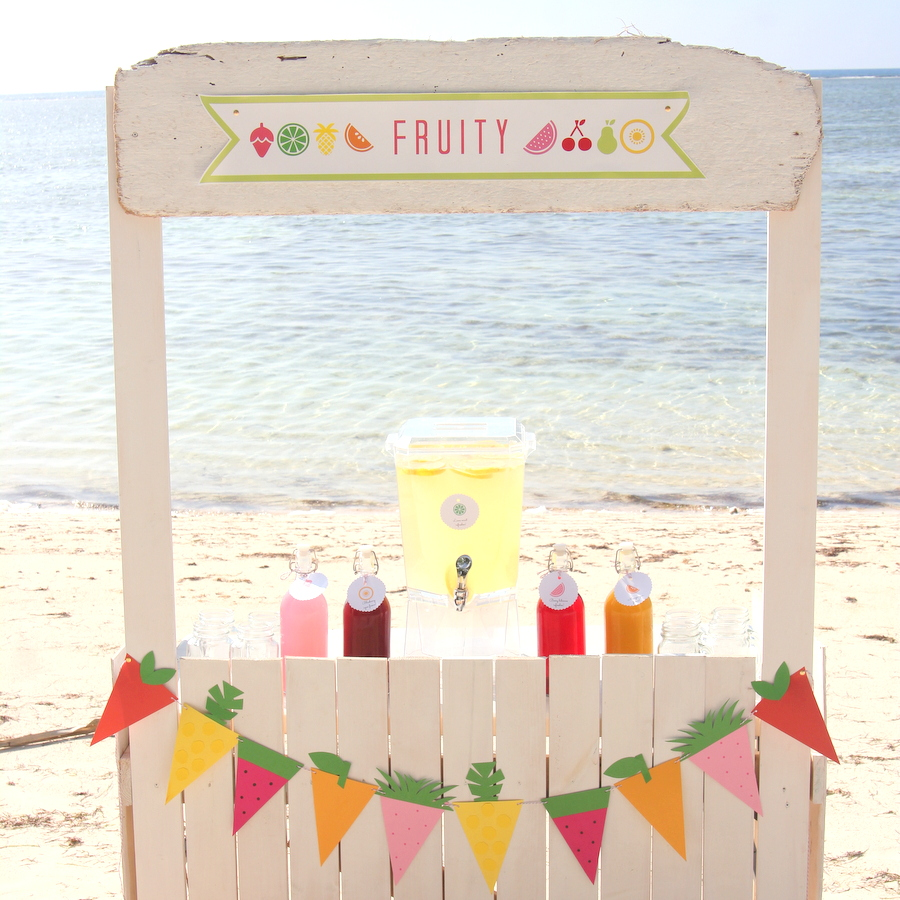 fruit party and a juice bar- the fruit garland and fruit favor boxes are so easy (the how to's are included)