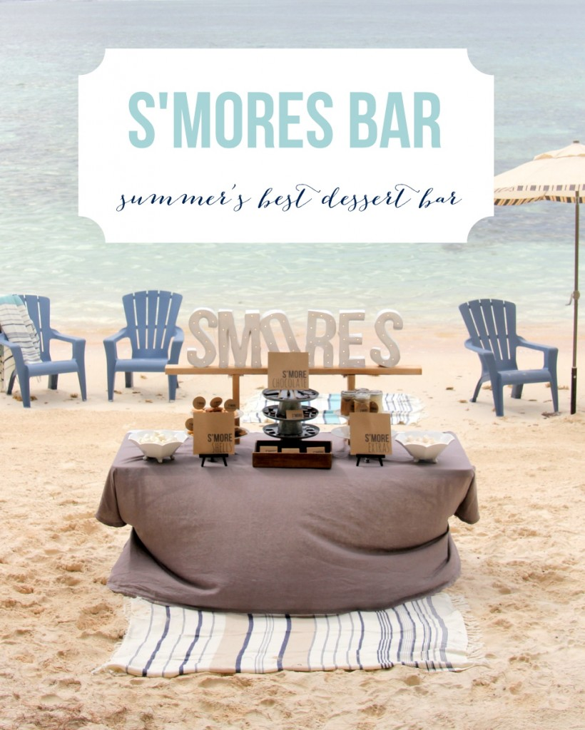 This S'mores Bar is the perfect dessert table- it'd word as a treat table at a party, a wedding dessert table, even a highlight of a bonfire on the beach!