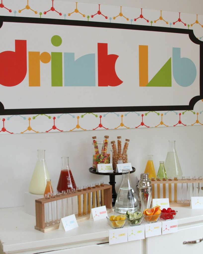 science themed graduation party- this 'drink lab' is the best idea ever!