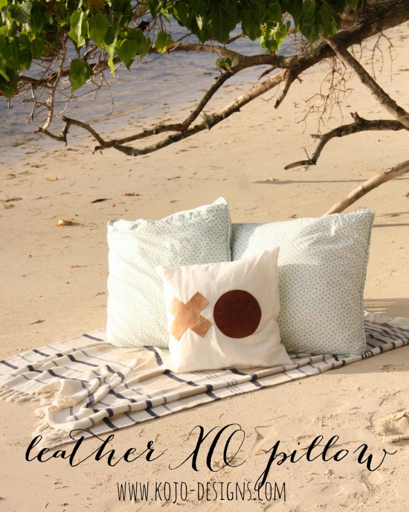 easiest ever DIY throw pillow with leather accents