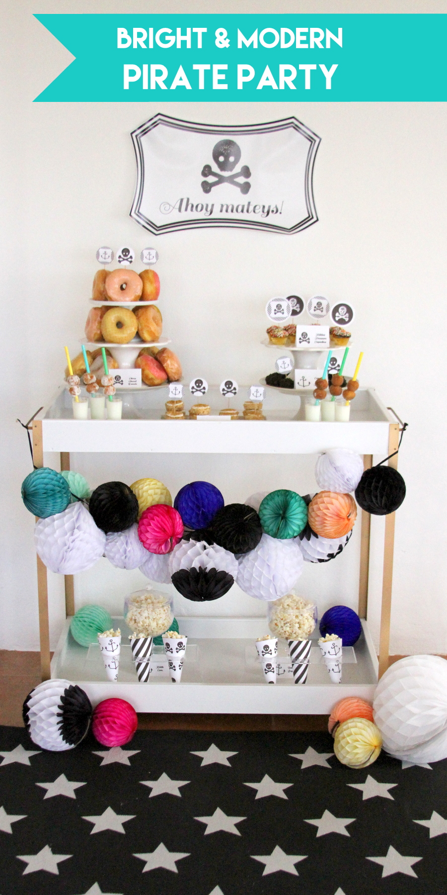 bright and modern birthday party ideas- pirates & pajamas themed party