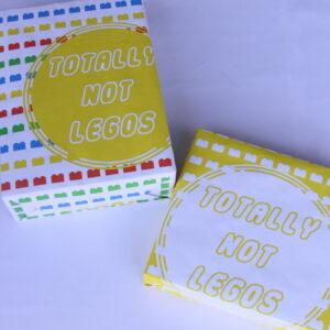 fun (cheeky) way to wrap Legos- free printable gift wrap