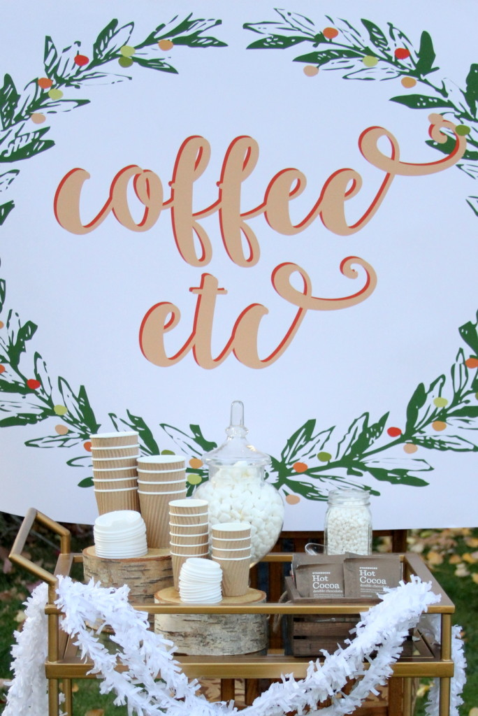 Perfect for the holidays (or just brunch)- a warm beverage station! So easy to put together. Free printable poster PDF included (until Thanksgiving).
