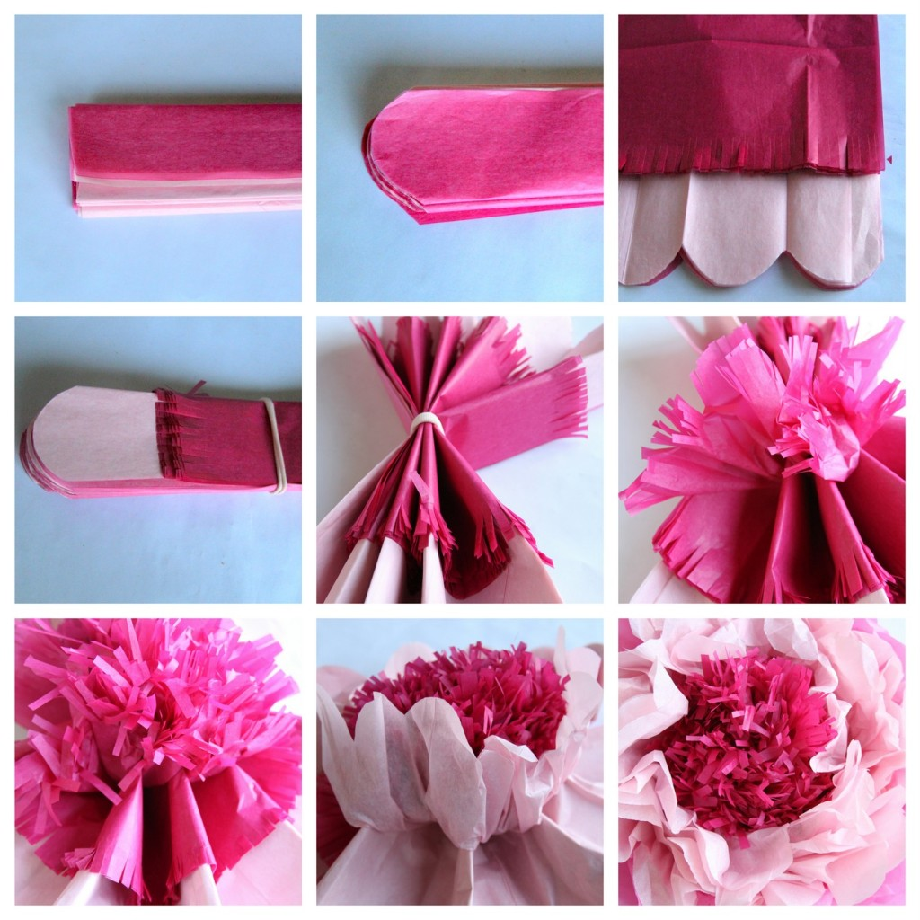 how to make paper flowers out of tissue paper 3-4 tissue papers 20x20 (will make 4 flowers)  lay the tissues down flat and  smooth out (if your using white and pastels alternate the colors), and lay on top of .
