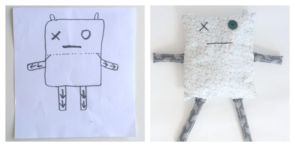 kids' drawing turned into real life toy- monster doll softie