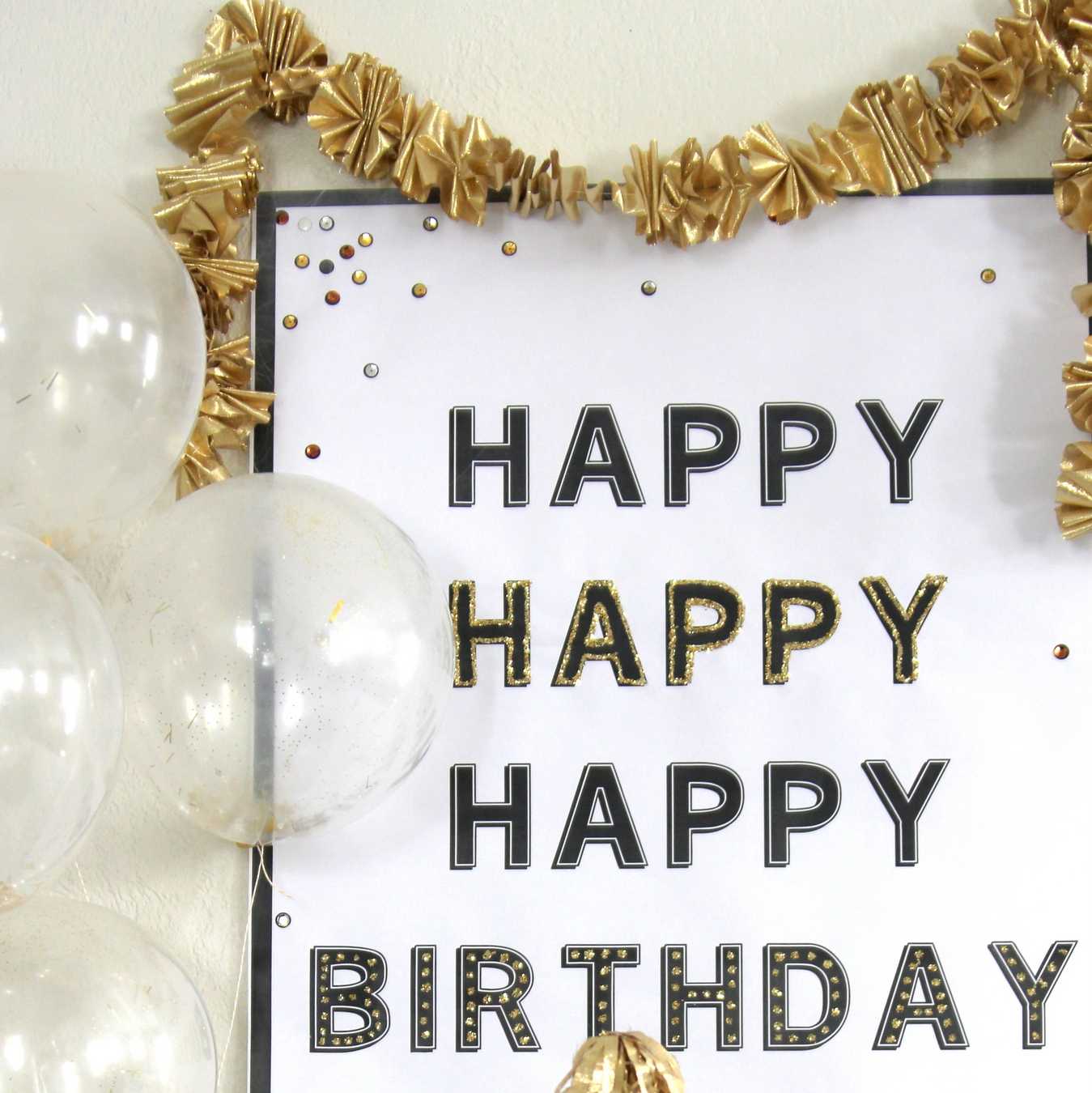 easy birthday party decor idea- make this poster for $3!