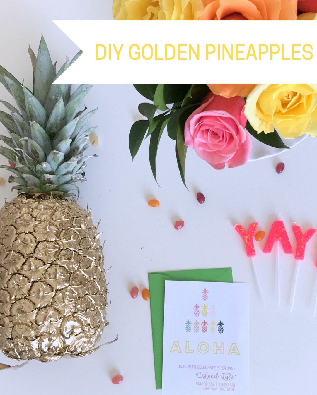 easy DIY golden pineapples (so fun for a moana party, a pineapple party, or a luau!)