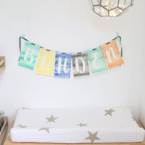 DIY watercolor garland (and tiny nursery 'nook')
