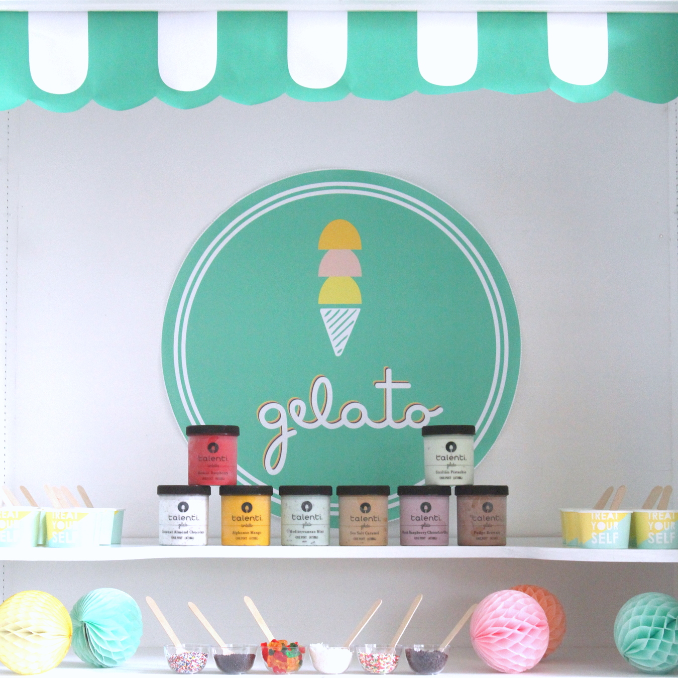 the most refreshing dessert table- a gelato bar!