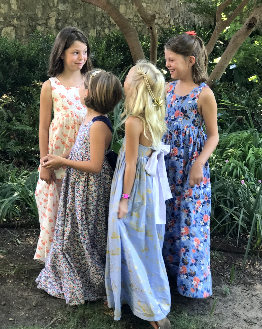 matching handmade girl's maxi dresses