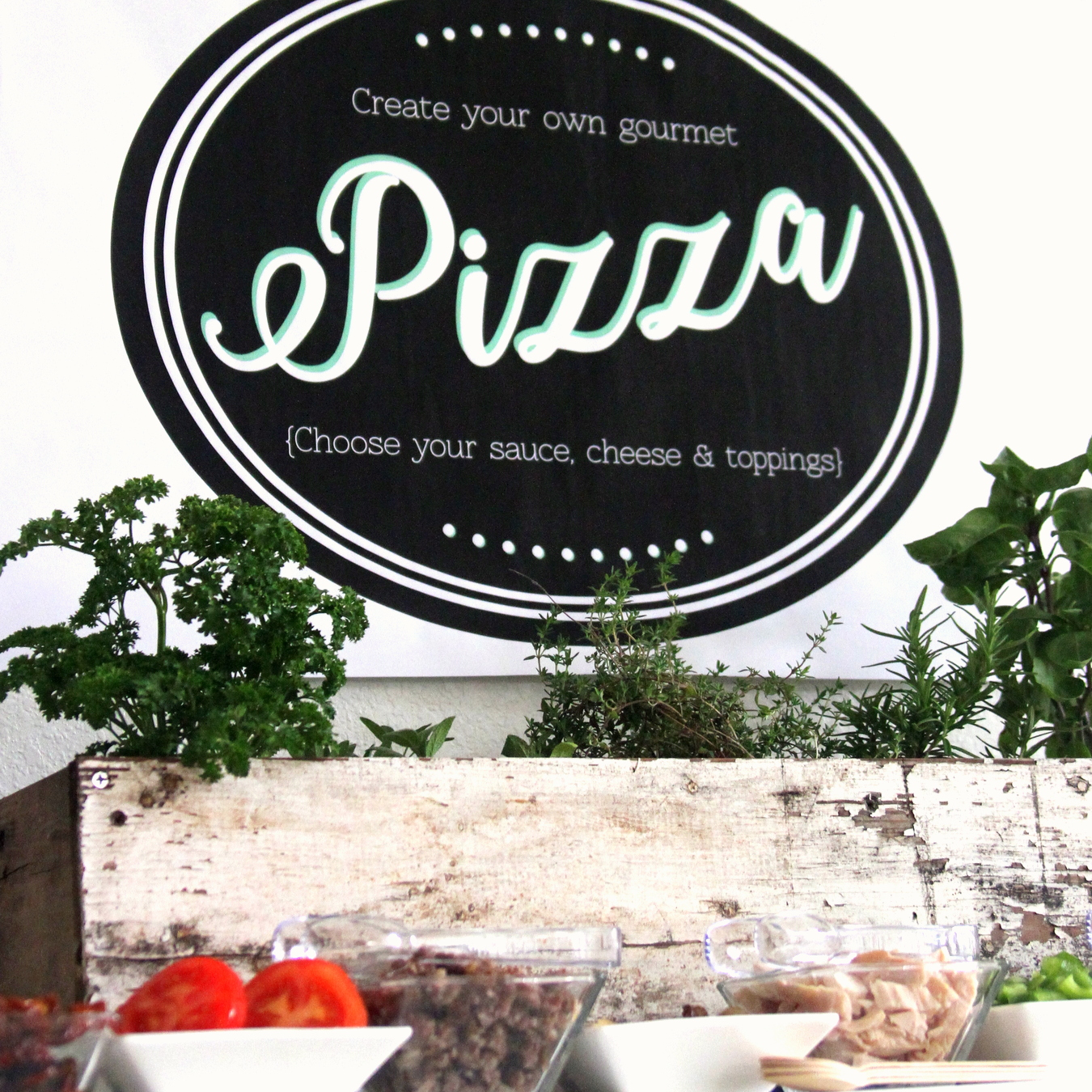 pizza party- make your own pizza station