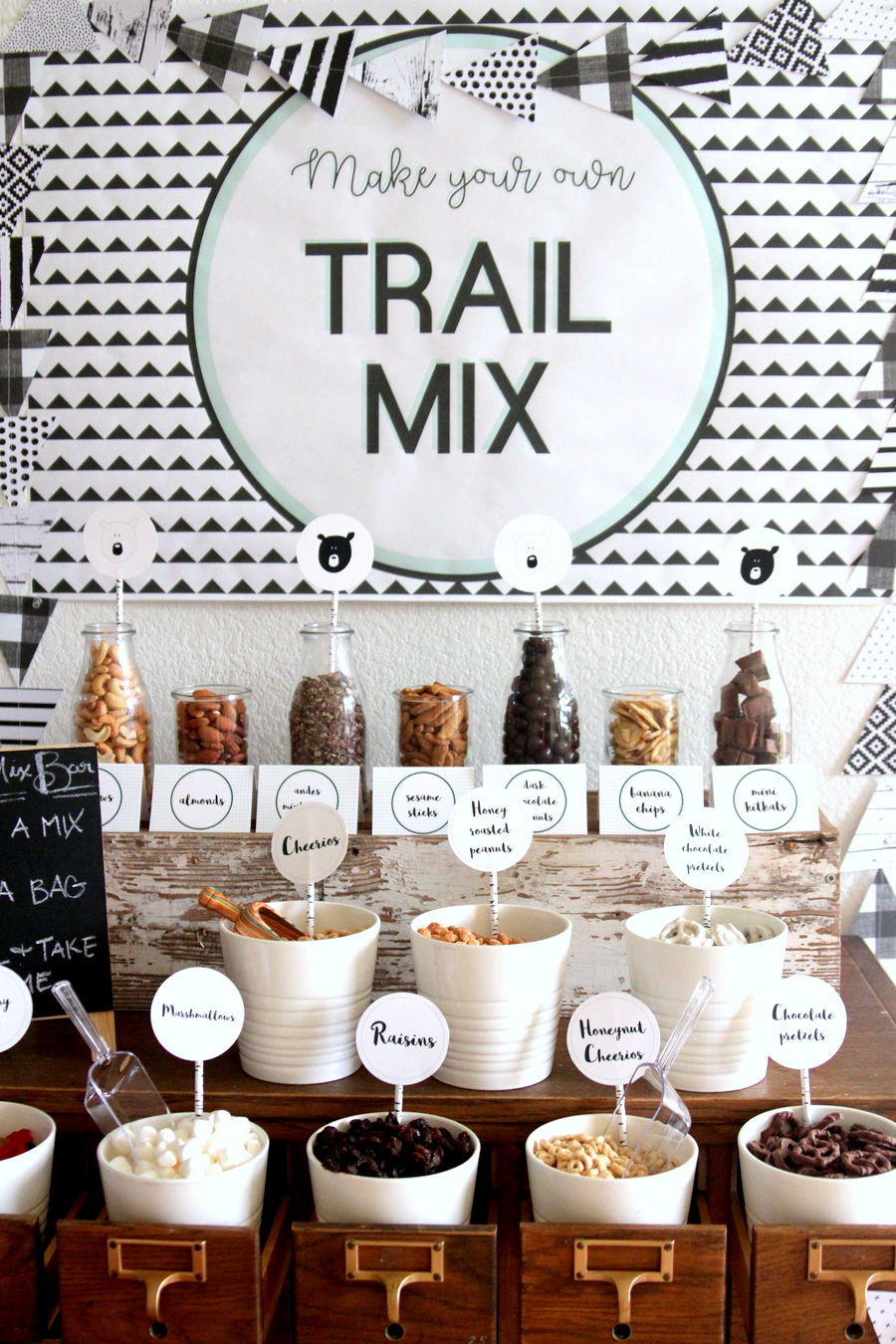 mountain-y bear party- trail mix bar favors