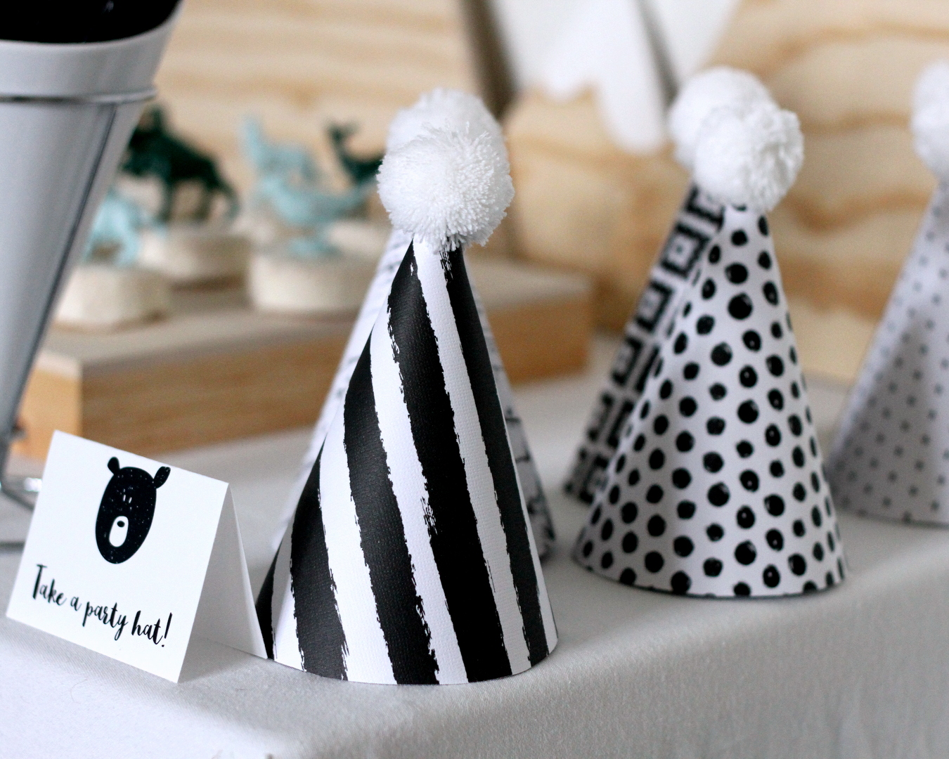 mountain-y bear party- black and white party hats