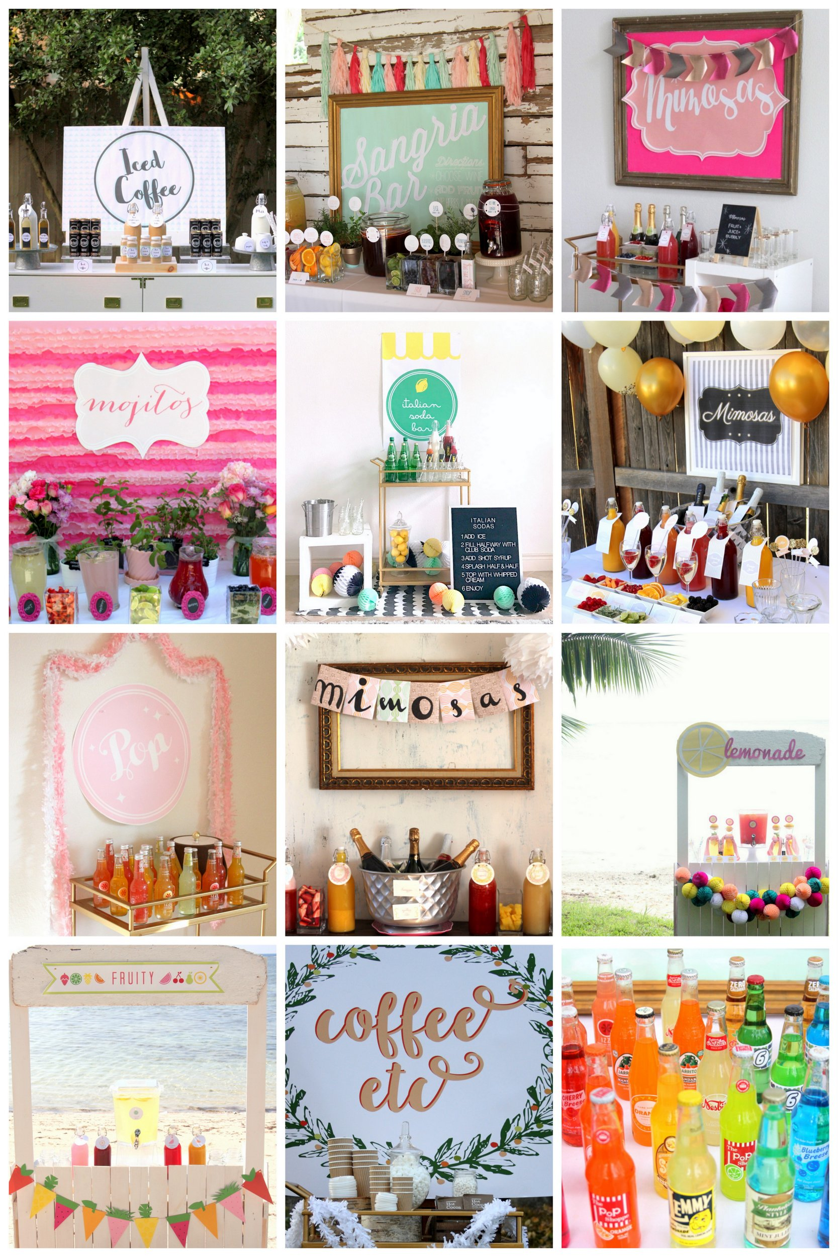 drink station ideas for your next party or shower or wedding