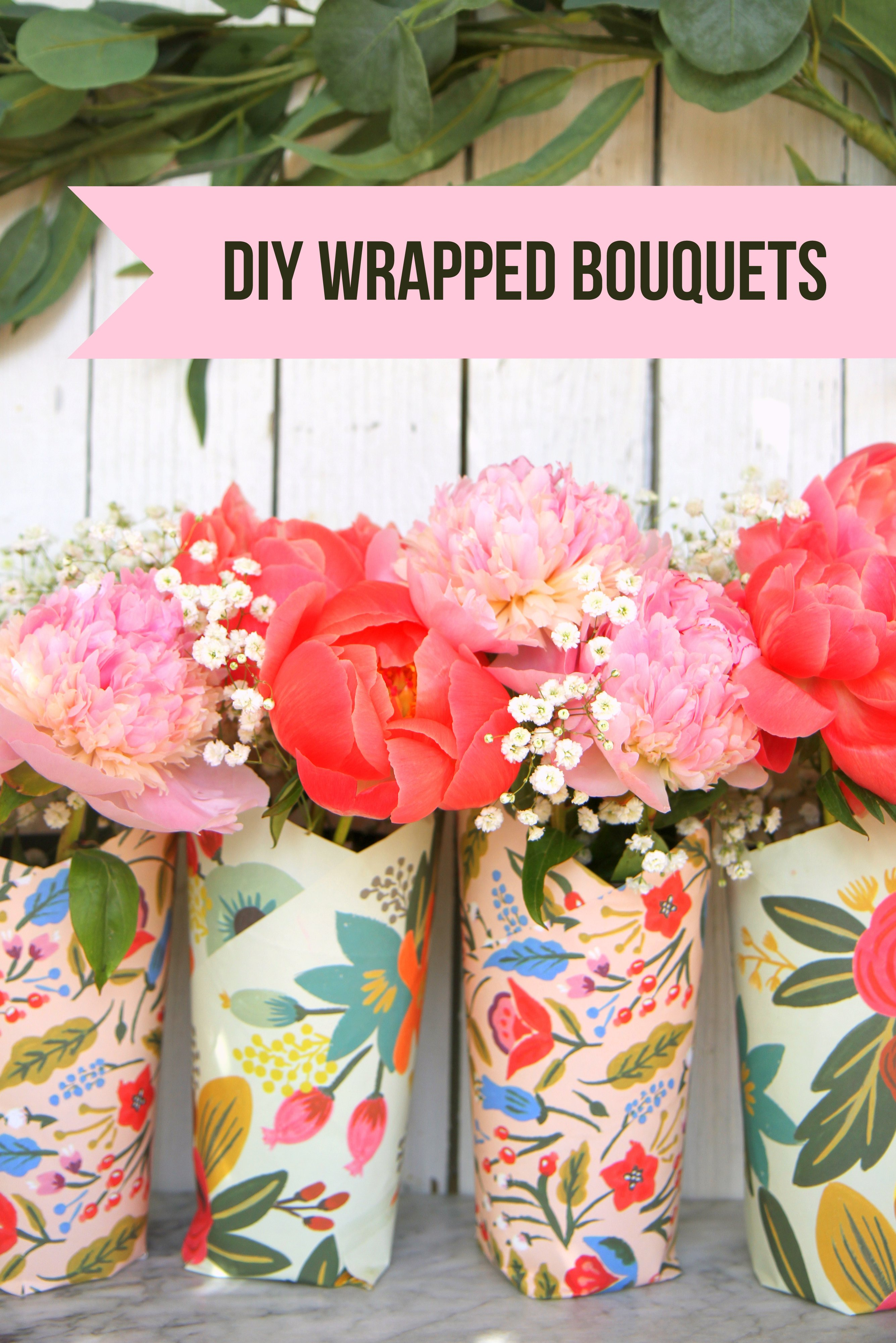 Put together these easy, pretty wrapped bouquets for Teacher Appreciation, Mother's Day, a birthday, or everyday!