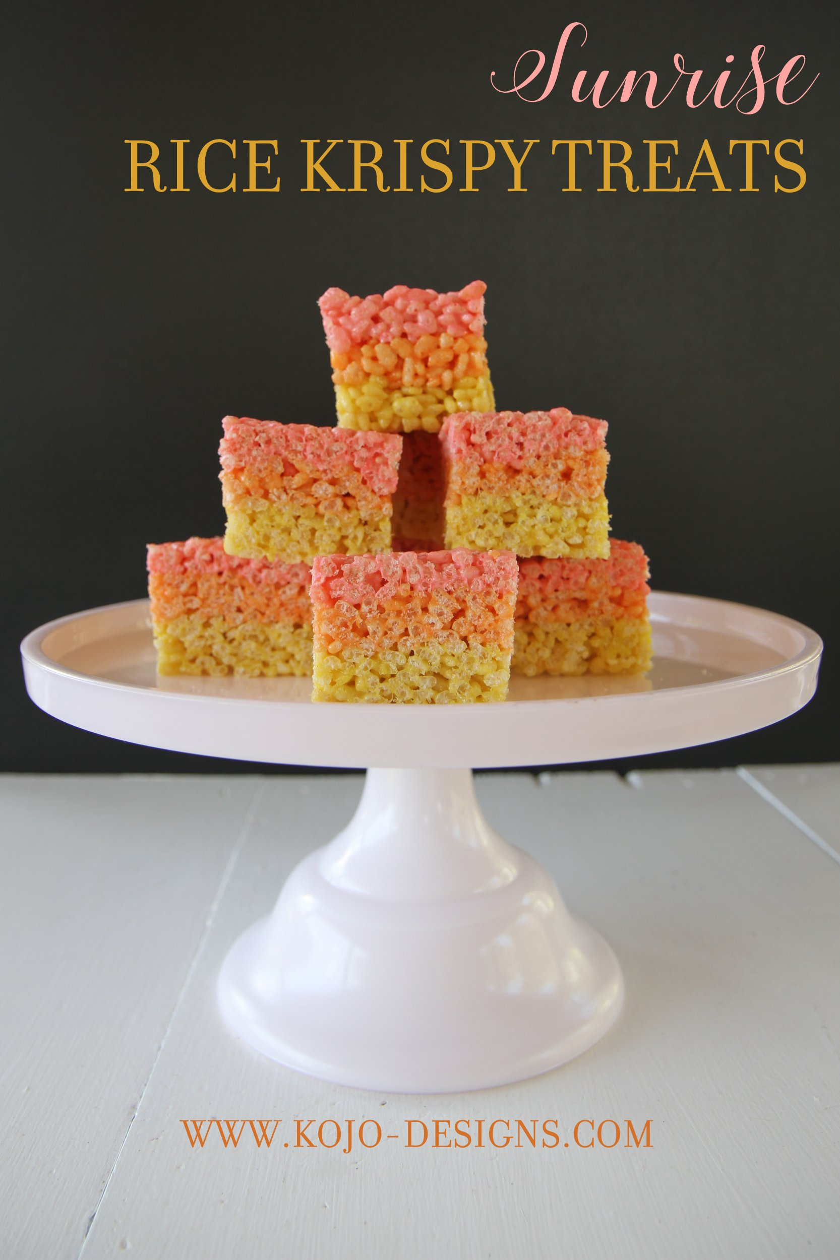 how to make sunrise colored layered rice krispy treats