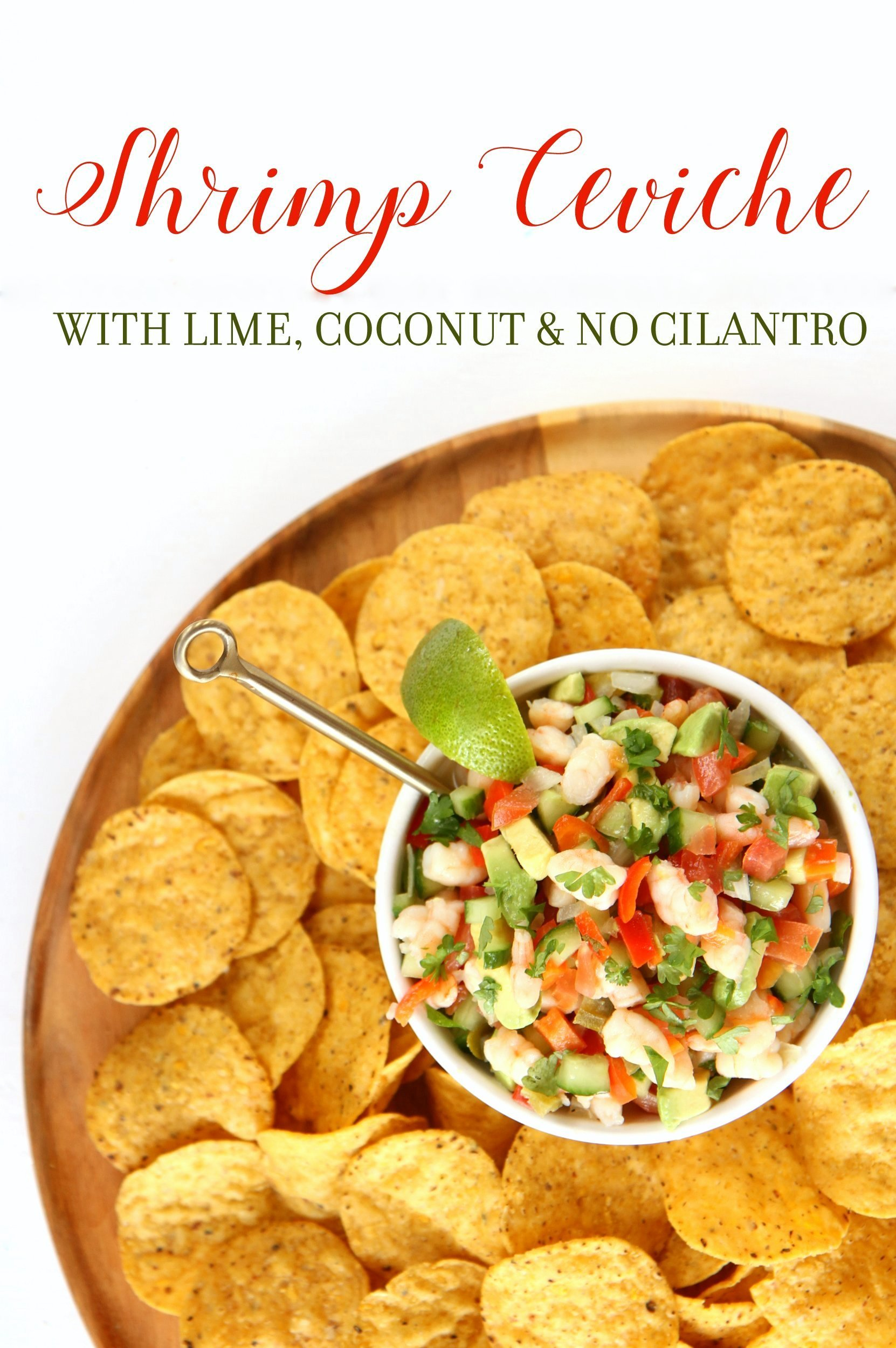shrimp ceviche with lime, coconut and no cilantro