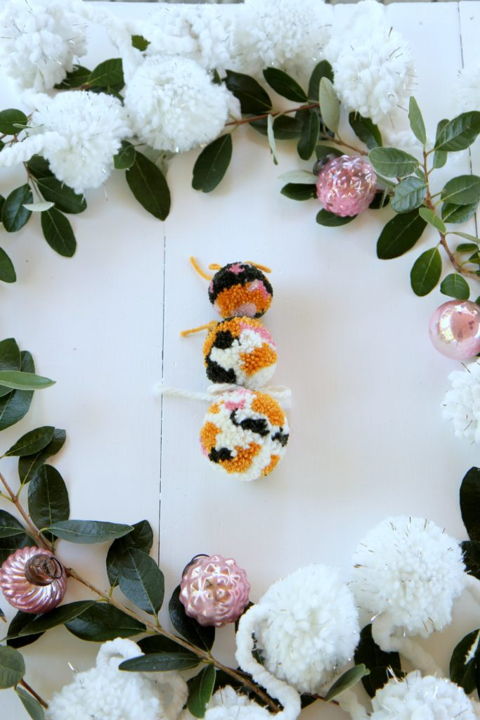 DIY pom pom ornaments