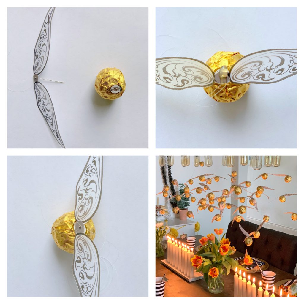 DIY hanging golden snitches- harry potter party
