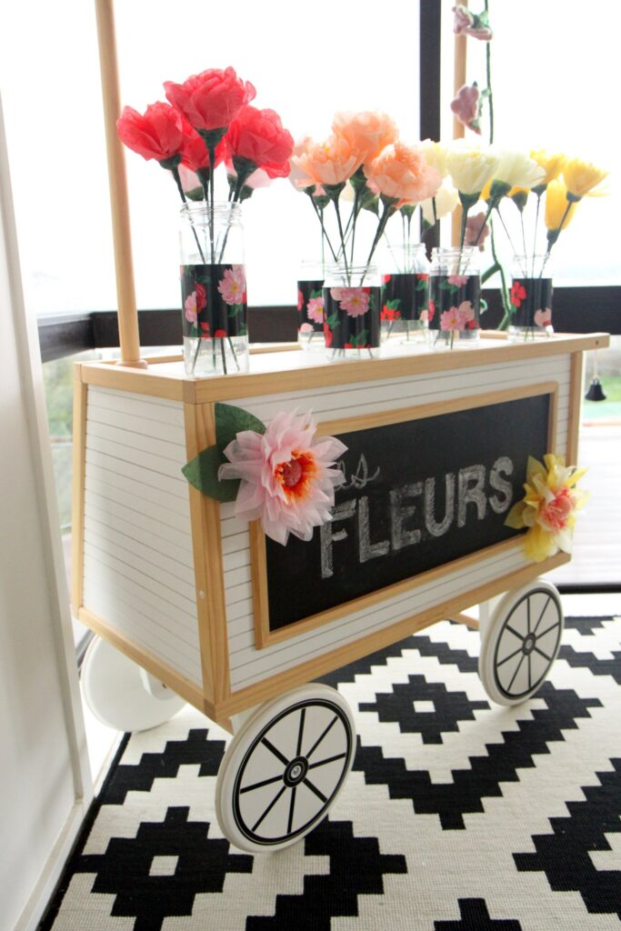 paper flower market for a paris themed party