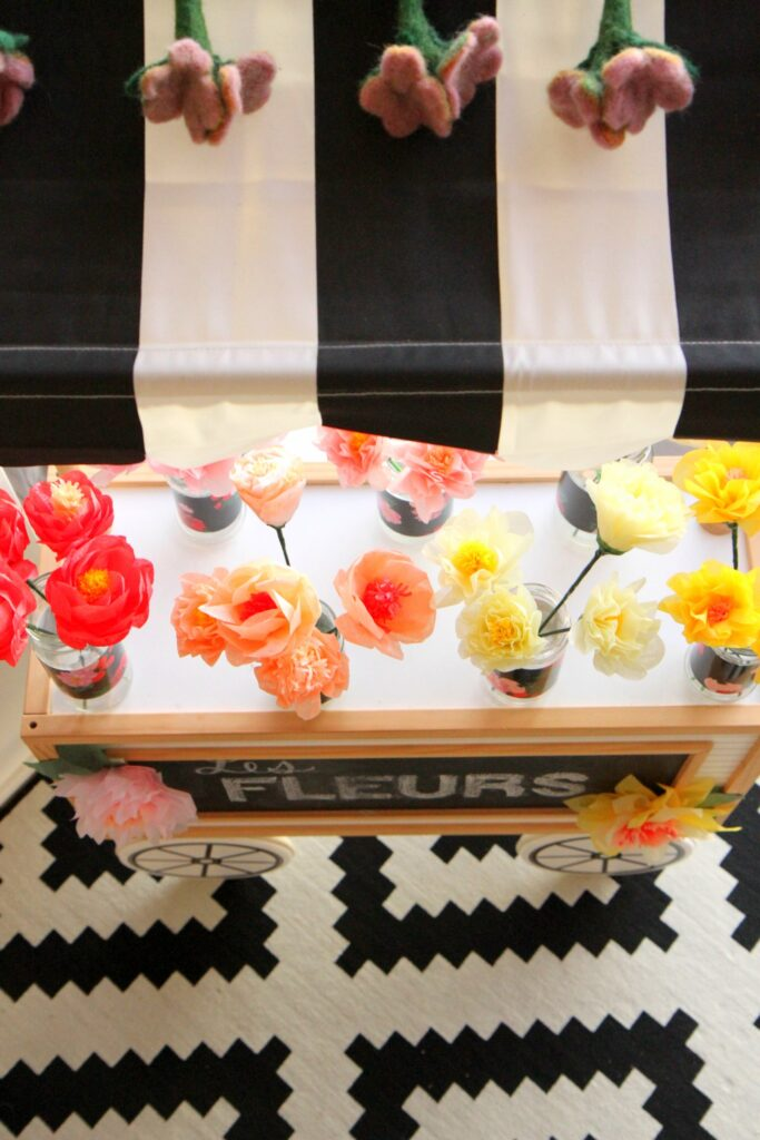 flower bar at a paris themed birthday party