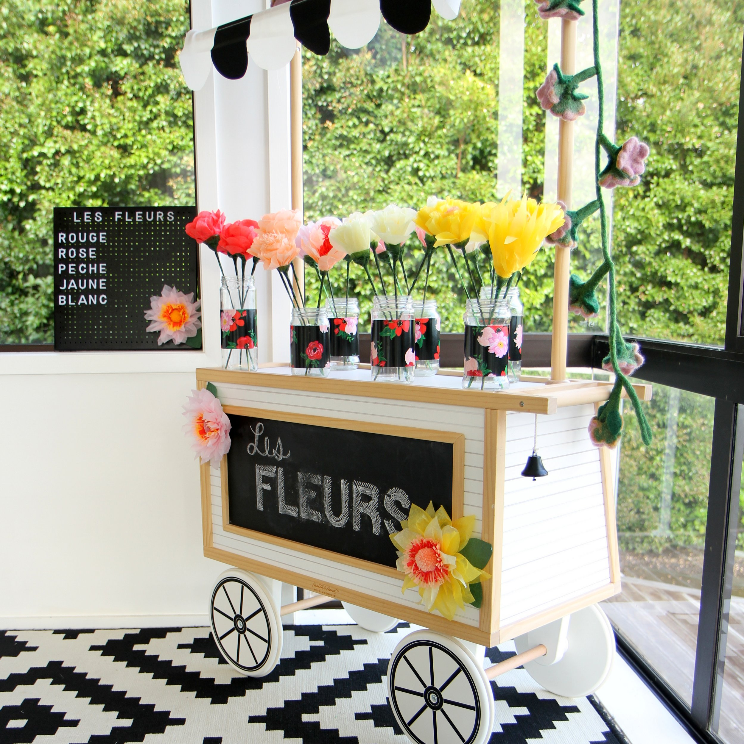 build your own bouquet bar for a paris themed birthday party