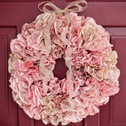 DIY spring wreath (made from doilies!)