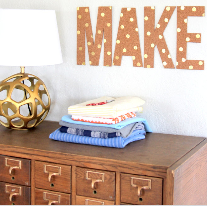 DIY polka dotted cork letters
