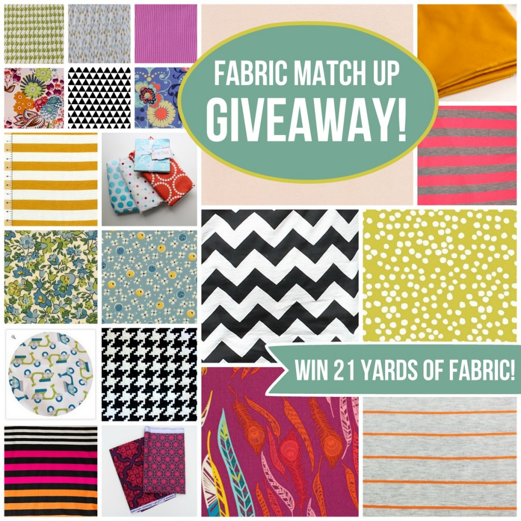 fabric matching giveaway- win 21 yards of fabric from your favorite sewing bloggers
