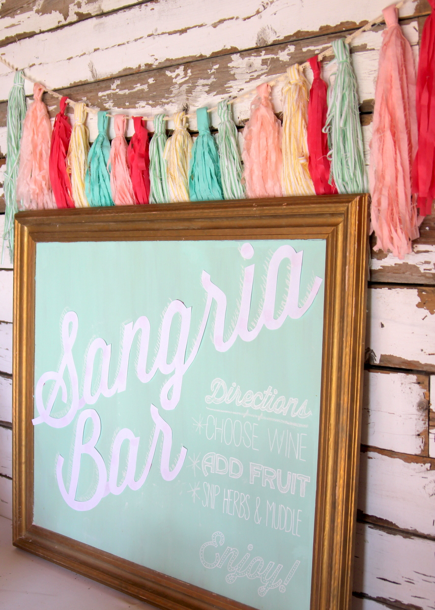 mint chalkboard as sangria bar backdrop