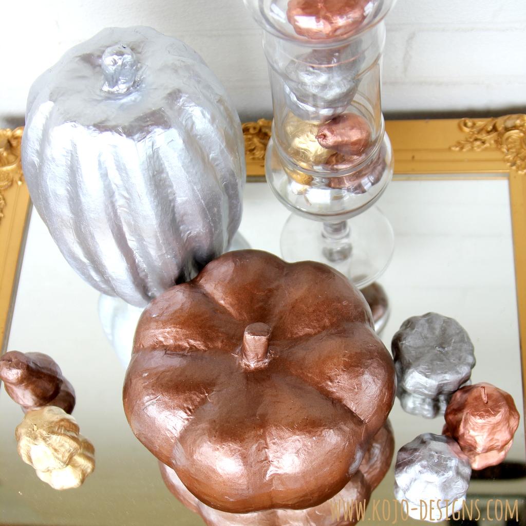 metallic pumpkin decor tutorial