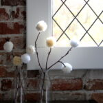 how to make pom pom topped branches
