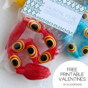 free printable valentine snake labels