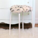 IKEA hack stool- how to make a fur topped stool with a $6 IKEA stool