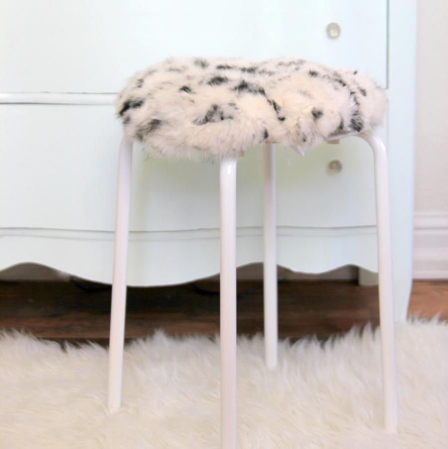 IKEA hack stool- how to make a fur topped stool with a $6 IKEA stool