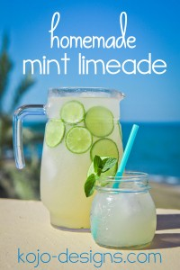 homemade mint limeade at kojo designs