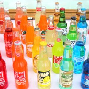 rainbow hued lineup of vintage sodas