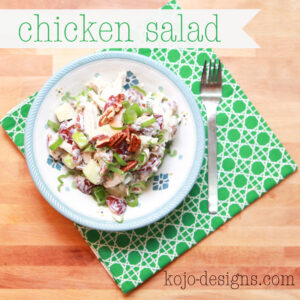 chicken salad with pecans, fruit, and yogurt