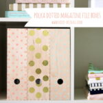 DIY file folders- add gold foil stickers or polka dotted paint for an easy office project